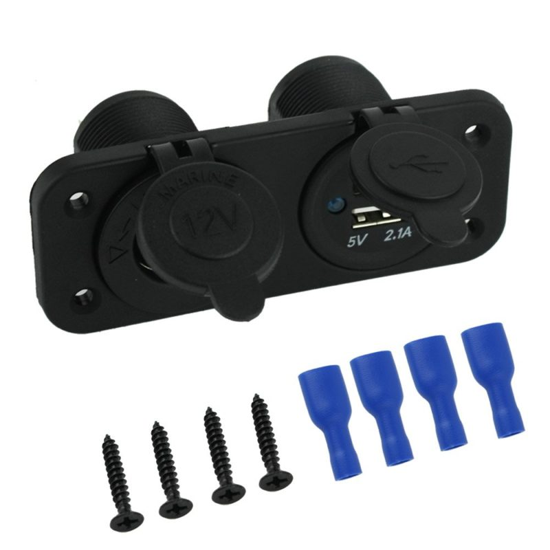 Cigarette Lighter Socket Splitter 12V Dual USB 2A or 1A Charger Power Adapter Outlet