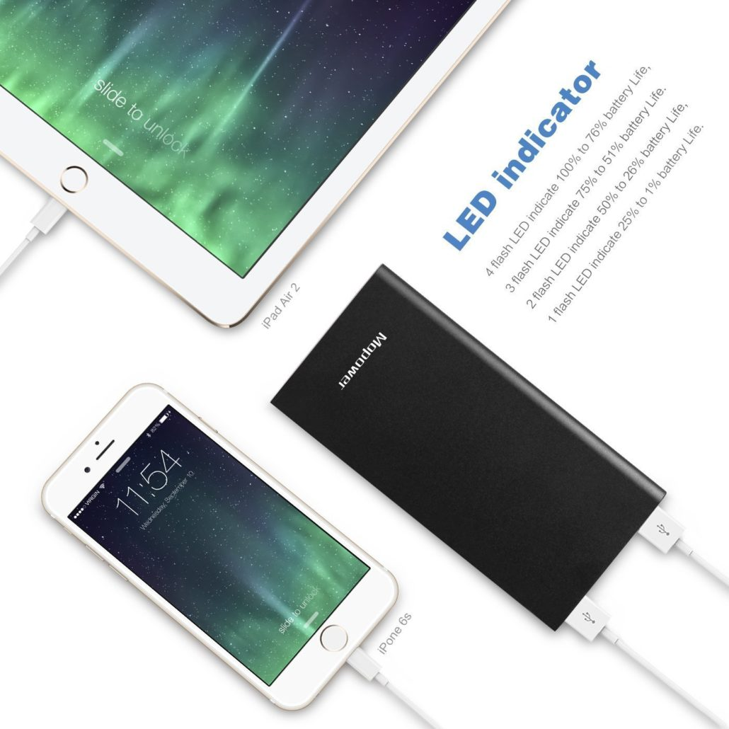 10000 mAh power bank completely charge a 1-year-old iPhone 6