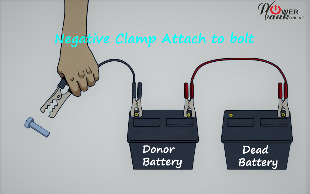 How to charge a Car Battery - negative clamp attached to bolt