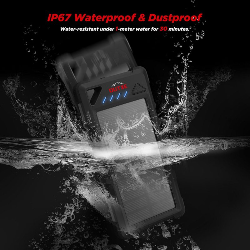 OUTXE IP67 Waterproof Outdoor Power Bank 16000mAh with Flashlight Rugged Solar Charger