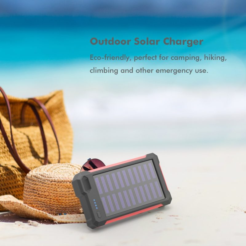 iClever 10000mAh Portable Solar Power Bank Dual USB Port Charger