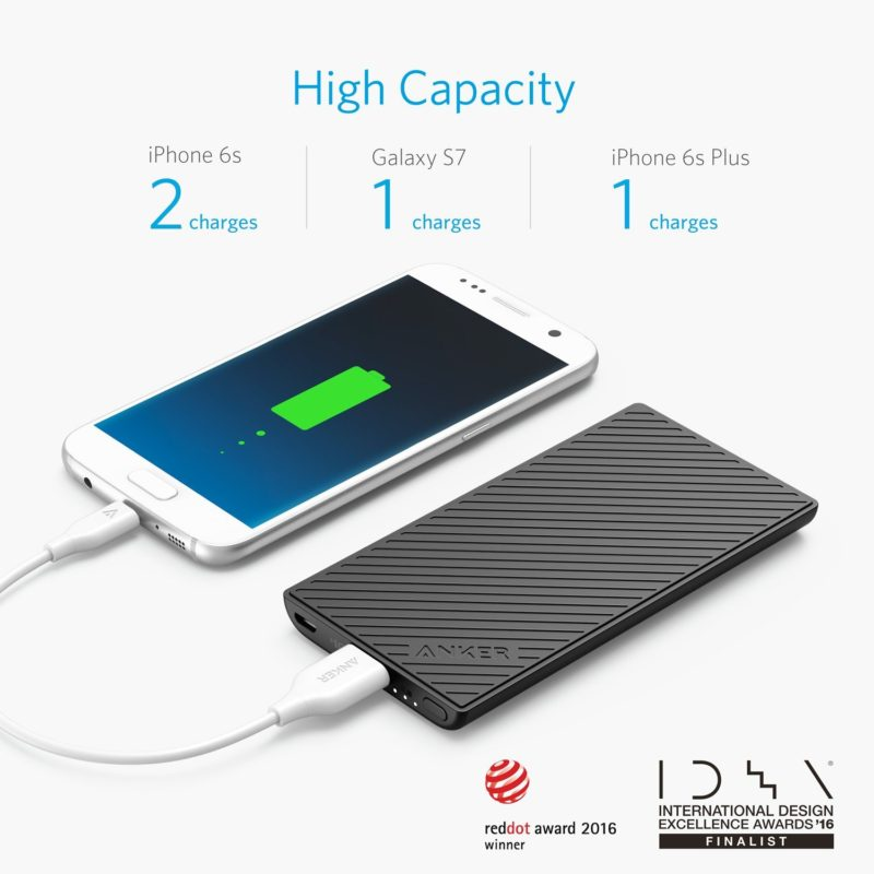 Anker PowerCore Slim 5000 Portable Charger, Ultra Slim 5000mAh External Battery