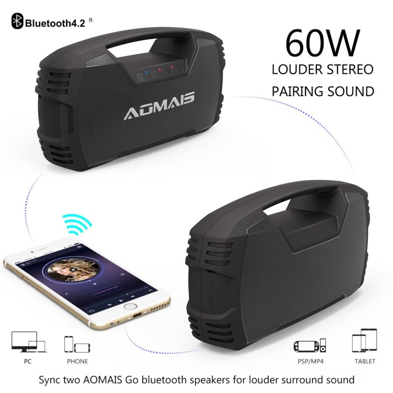 Bluetooth Speakers, Waterproof Portable Indoor-Outdoor 30W Wireless Stereo with 7200mAh Power Banks