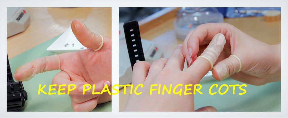 Place Plastic Finger Cots before Watch battery replacement