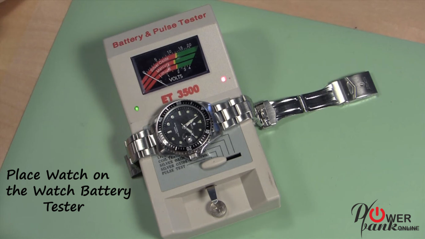 Place the watch to the Battery tester
