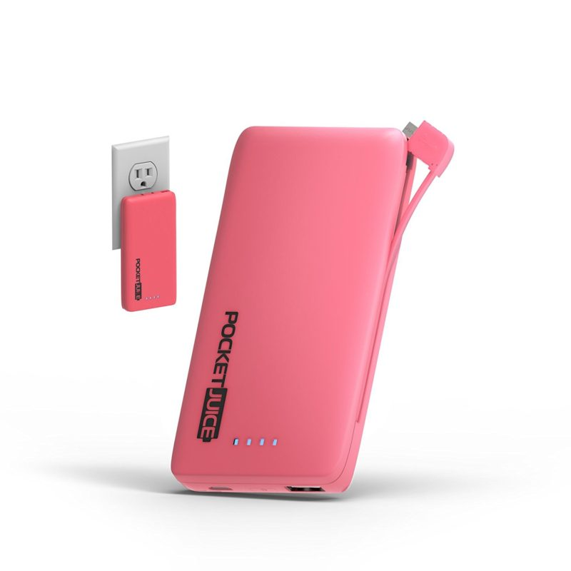 tzumi Mini Portable Battery Charger - 6,000mAh With Built-in AC Plug & Micro USB Cable iPhone, Android - Pocket Juice - Pink
