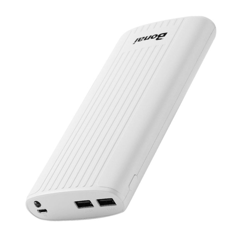 Bonai 20,000mAh Power Bank Stripe Portable Charger External Backup Battery Pack with Dual Ports & Flashlight