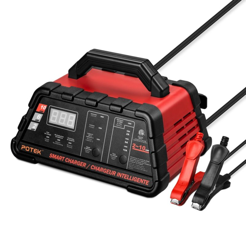 Potek 2-6-10 Amp Smart Battery Charger and Maintainer with 50-Amp Battery Clips