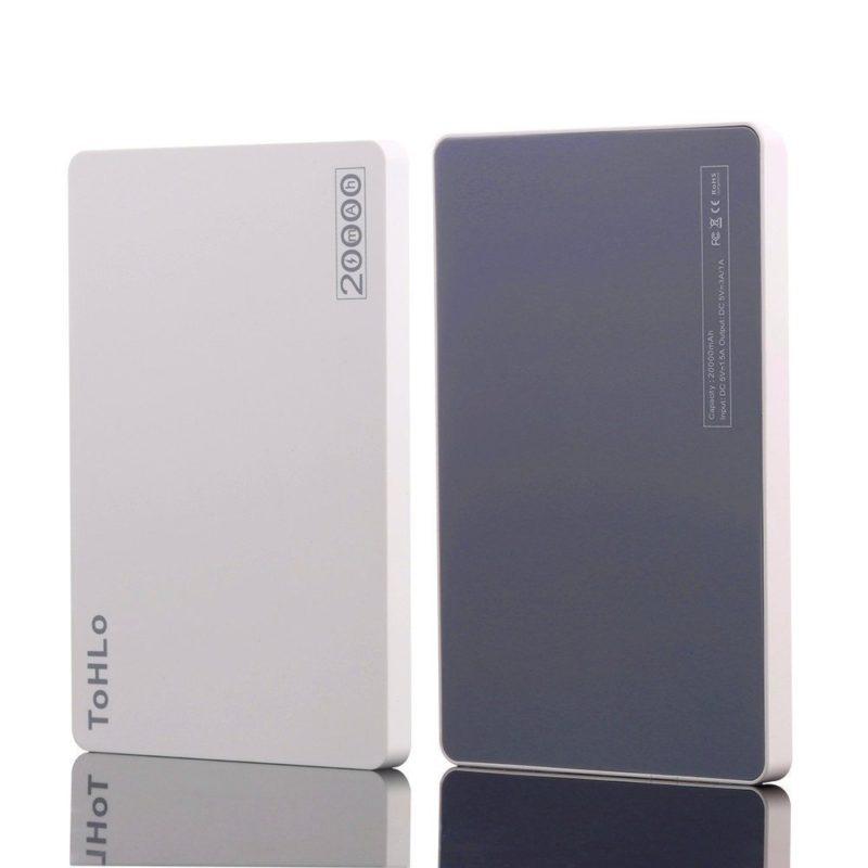 ToHLo Portable Charger Power Bank 20000mAh, Ultra Slim Dual USB Ports Portable External Power Bank Charger