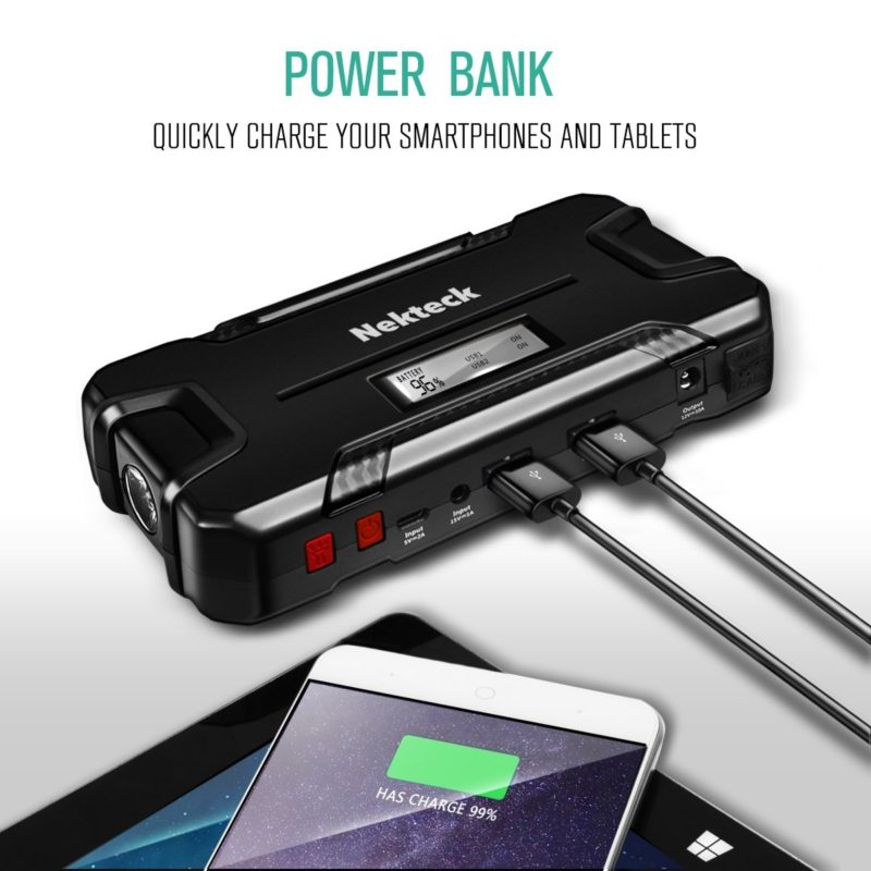 nekteck car jump starter portable power bank external. Black Bedroom Furniture Sets. Home Design Ideas