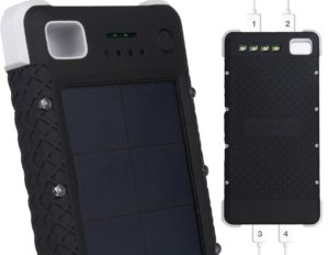 SOS20K - 20,000 mAh Rugged Solar Charger with Flashlight, IP67 Waterproof Solar Camping Battery & 4 Port USB Fast Charging Powerbank