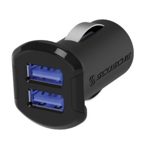 SCOSCHE ReVolt Compact Dual Port USB Fast Car Charger with Illuminated LED Backlight