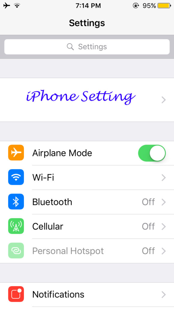 Why is my iPhone Battery Yellow - Go to Setting